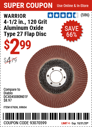 4-1/2 in. 120 Grit Aluminum Oxide Type 27 Flap Disc