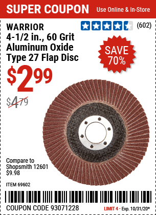 4-1/2 in. 60 Grit Aluminum Oxide Type 27 Flap Disc