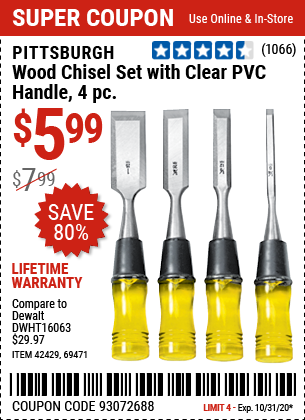 Wood Chisel Set with Clear PVC Handle, 4 Pc.