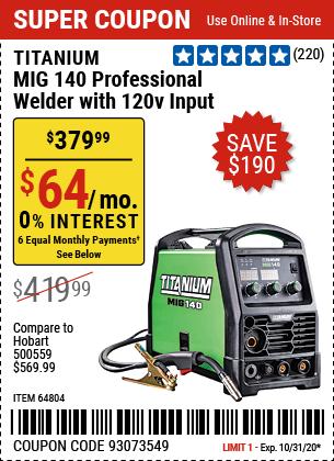 MIG 140 Professional Welder with 120 Volt Input