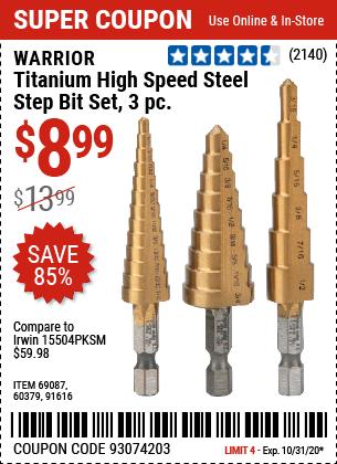 Titanium High Speed Steel Step Bit Set, 3 Pc.