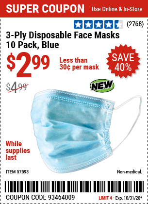 3-Ply Disposable Face Masks - 10 Pack, Blue