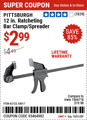 12 in. Ratcheting Bar Clamp/Spreader