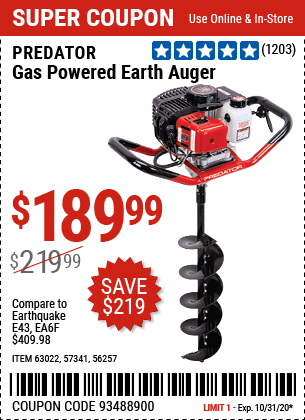 Gas Powered Earth Auger