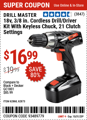 18V 3/8 in. Cordless Drill/Driver Kit With Keyless Chuck, 21 Clutch Settings
