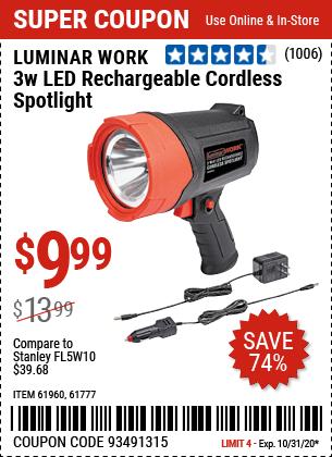 3 Watt LED Rechargeable Cordless Spotlight