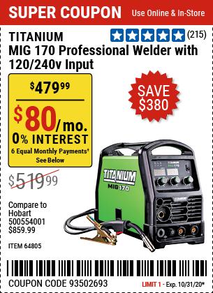 MIG 170 Professional Welder with 120/240 Volt Input