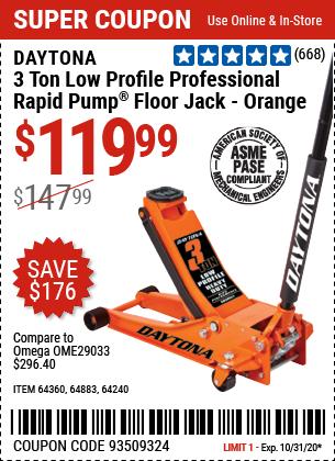 3 Ton Low Profile Professional Rapid Pump® Floor Jack - Orange