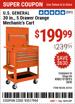 30 in. 5 Drawer Orange Mechanic's Cart