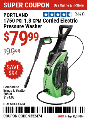 1750 PSI 1.3 GPM Corded Electric Pressure Washer