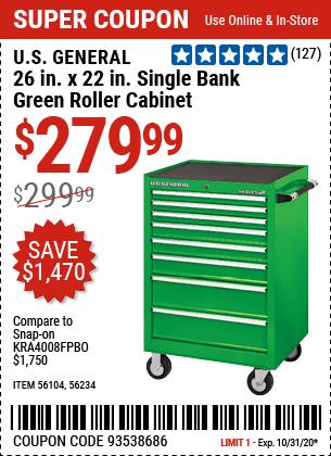 26 in. x 22 In. Single Bank Green Roller Cabinet