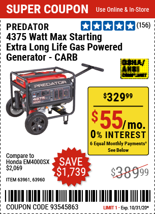 4375 Watt Max Starting Extra Long Life Gas Powered Generator - CARB