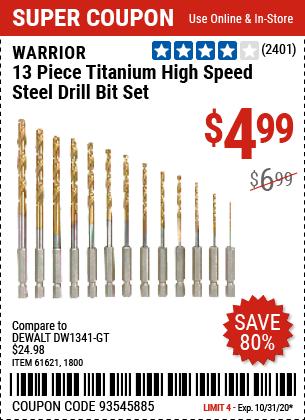 Titanium High Speed Steel Drill Bit Set, 13 Pc.