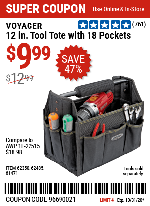 12 in. Tool Tote with 18 Pockets