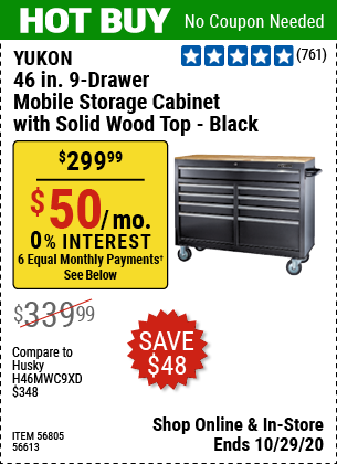 YUKON 46 In. 9-Drawer Mobile Storage Cabinet With Solid ...