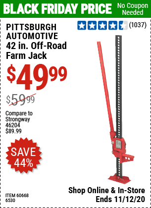 Pittsburgh Automotive 42 In Off Road Farm Jack For 49 99 Harbor Freight Coupons