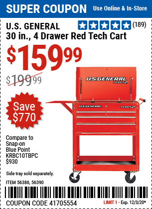30 in. 4 Drawer Red Tech Cart
