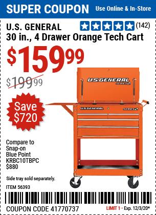 30 in. 4 Drawer Orange Tech Cart