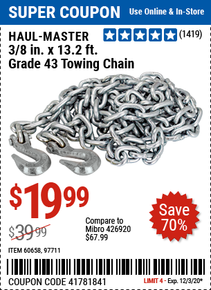 3/8 in. x 13.2 ft. Grade 43 Towing Chain