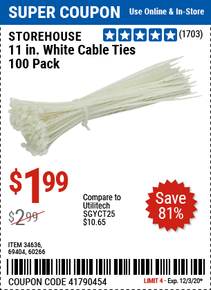 11 in. White Cable Ties 100 Pk.