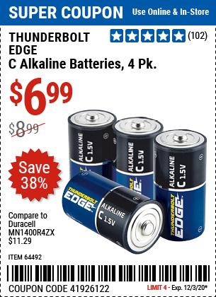 C Alkaline Batteries, 4 Pk.
