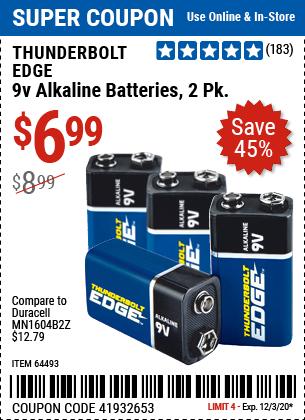 9V Alkaline Batteries, 2 Pk.