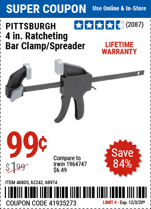 4 in. Ratcheting Bar Clamp/Spreader