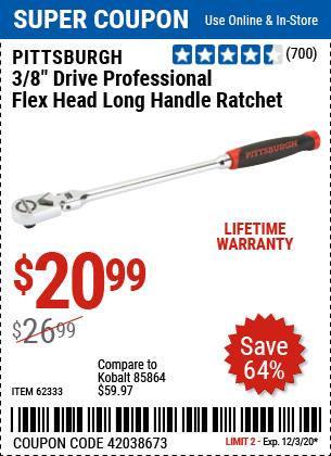 3/8 in. Drive Professional Flex Head Long Handle Ratchet