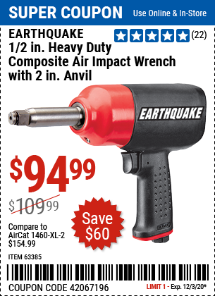 1/2 in. Heavy Duty Composite Air Impact Wrench with 2 in. Anvil