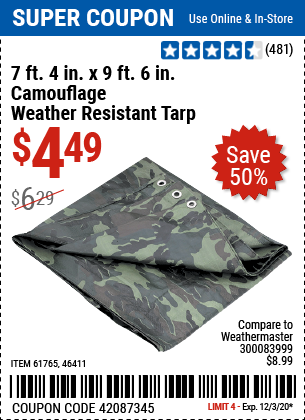7 ft. 4 in. x 9 ft. 6 in. Camouflage All Purpose/Weather Resistant Tarp