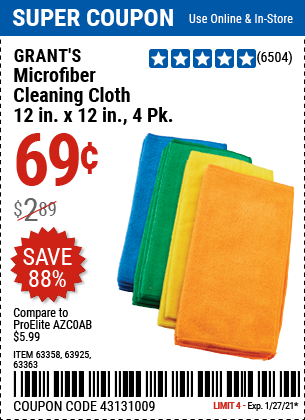 Microfiber Cleaning Cloth 12 in x 12 in 4 Pk