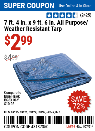 7 ft 4 in x 9 ft 6 in Blue All Purpose Weather Resistant Tarp