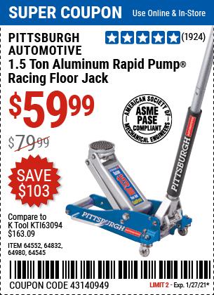 1 5 Ton Aluminum Rapid Pump Racing Floor Jack