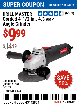 Corded 4 1 2 in 4 3 Amp Angle Grinder