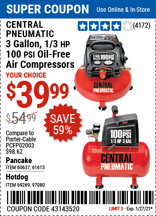 3 gallon 1 3 HP 100 PSI Oil Free Pancake Air Compressor