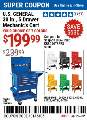 30 in 5 Drawer White Mechanic s Cart