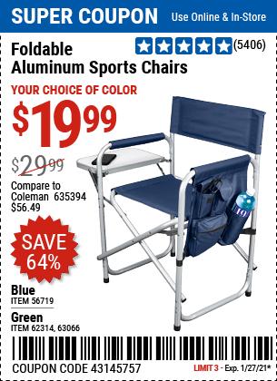 Foldable Aluminum Sports Chair Blue