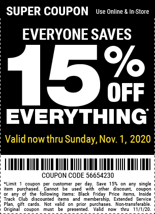 15 Percent Off Any Item with No Restrictions Through 11-1-2020