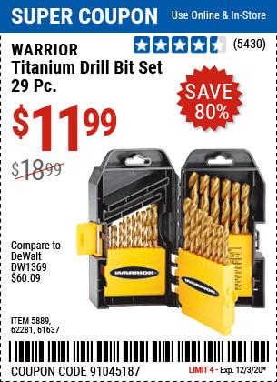 Titanium Drill Bit Set, 29 Pc.