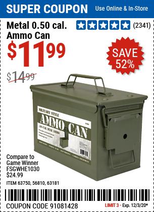 Metal 0.50 Caliber Ammo Can
