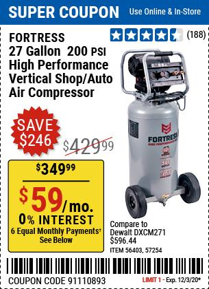 27 Gallon  200 PSI High Performance Vertical Shop/Auto Air Compressor