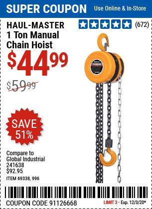 1 ton Manual Chain Hoist
