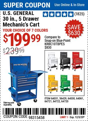 30 in. 5 Drawer White Mechanic's Cart