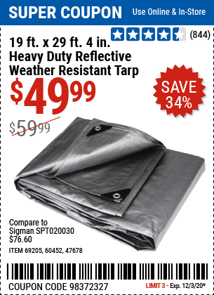 19 ft. x 29 ft. 4 in. Silver/Heavy Duty Reflective All Purpose/Weather Resistant Tarp
