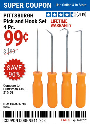 Item 66836 for sale online Pittsburgh 4 Pc Mini Pick /& Hook Set