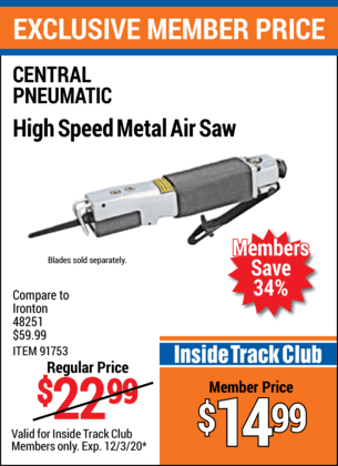 CENTRAL PNEUMATIC High Speed Metal Air Saw