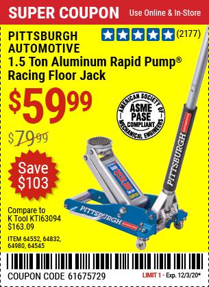 PITTSBURGH 1.5 Ton Aluminum Rapid Pump Racing Floor Jack for $59.99