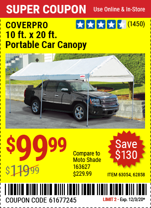 COVERPRO 10 Ft. X 20 Ft. Portable Car Canopy for $99.99