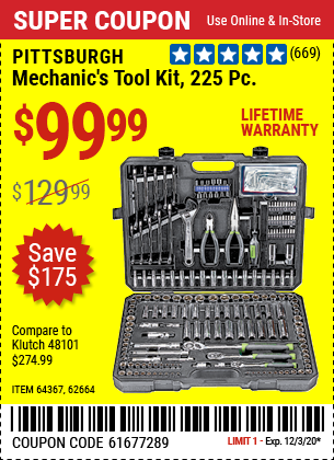 PITTSBURGH Mechanic's Tool Kit 225 Pc. for $99.99