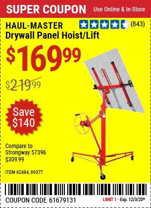 HAUL-MASTER Drywall Panel Hoist / Lift for $169.99